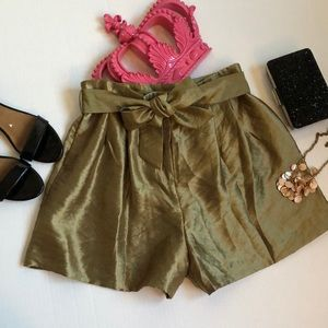 ZARA Metallic-effect bermuda shorts